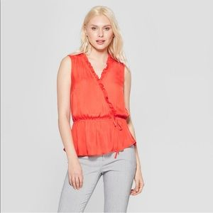 🌿Women's sleeveless orange blouse